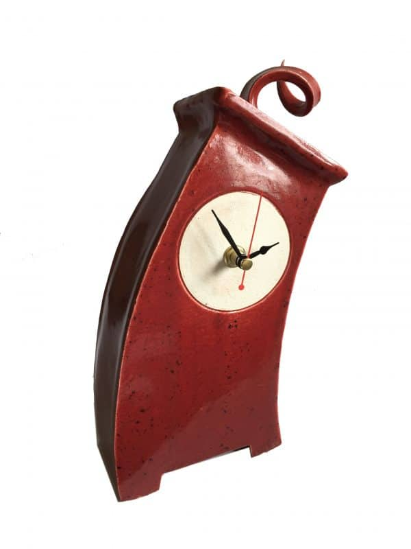 WO01 Wonky Speckle Red Curly top ceramic Clock by Peter Bowen