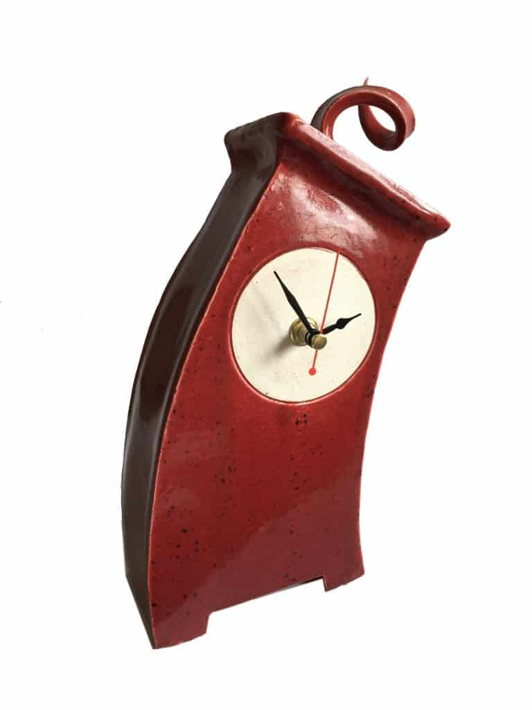WO01 Wonky Speckle Red Curly top Clock by Peter Bowen