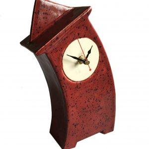 WO01 Wonky Speckle Red triangle top ceramic clock by Peter Bowen