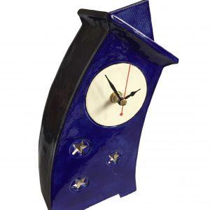WO02 Wonky Moody Blue ceramic clock by Peter Bowen