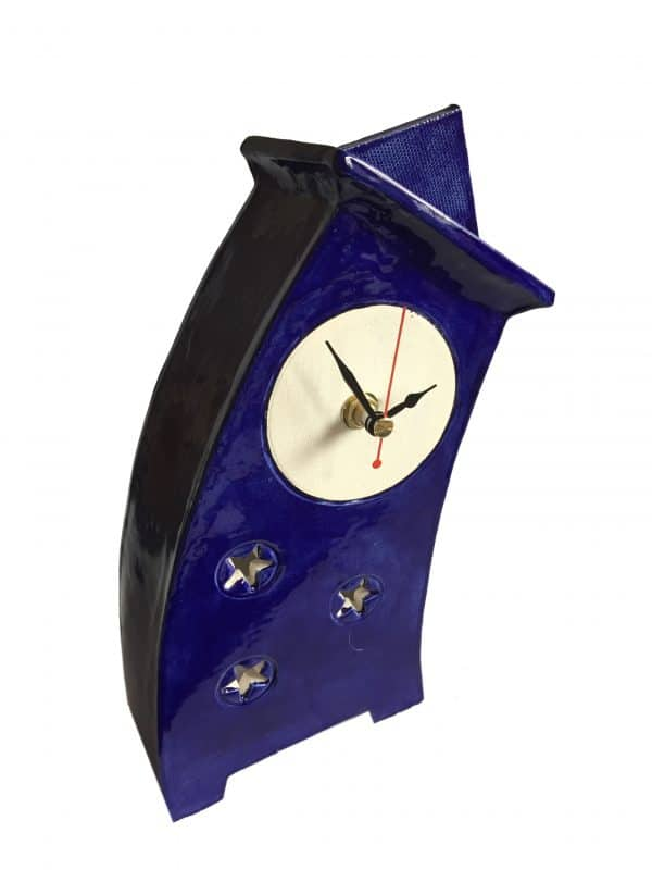 WO02 Wonky Moody Blue ceramic clock by Peter Bowen