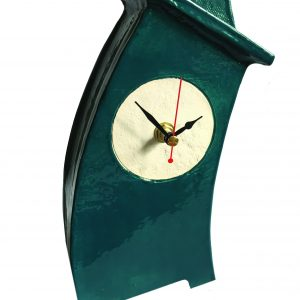 WO03 Wonky Blue Green ceramic clock by Peter Bowen