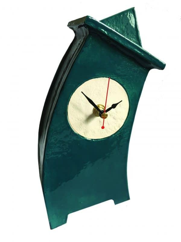 WO03 Wonky Blue Green ceramic clock by Peter Bowen